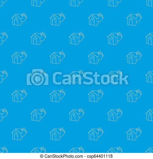 House on fire pattern seamless blue - csp64401118
