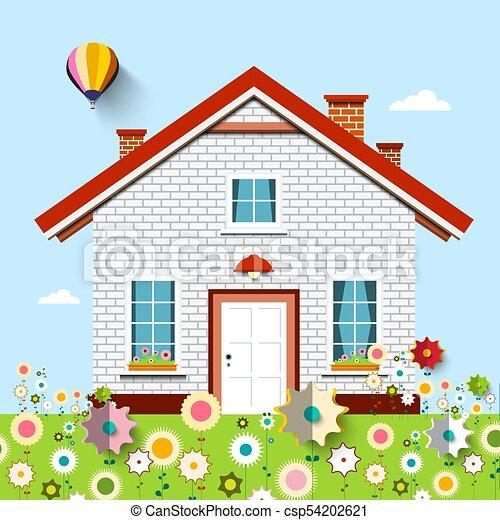 House on Garden full of Flowers - csp54202621