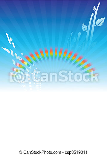 House on Rainbow Environmental Conservation Background - csp3519011