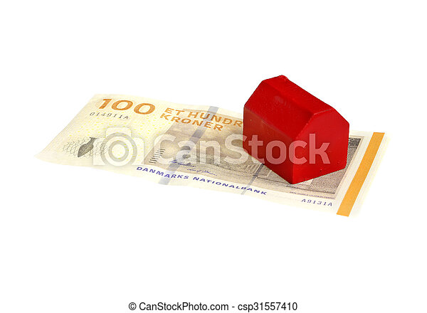 House on red Dannish banknote - csp31557410