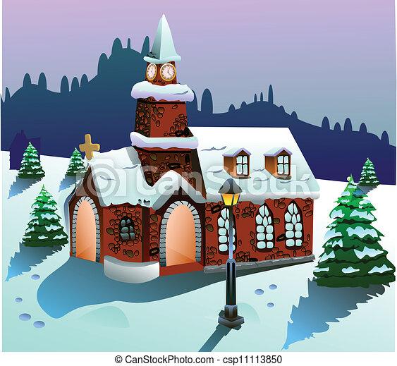 House On Snow Vector