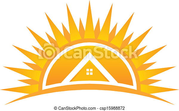 House on Sunset Vector Logo - csp15988872