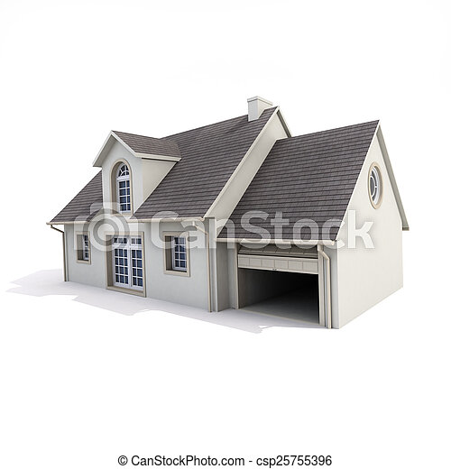 house on white background - csp25755396