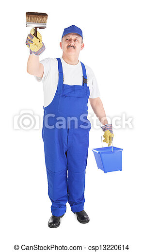 house painter with bucket and paintbrush - csp13220614