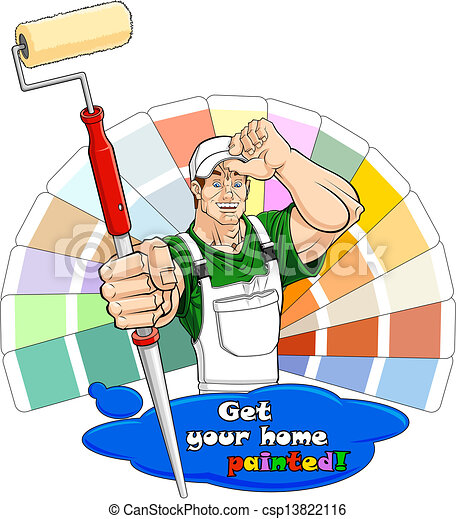House painter with paint roller - csp13822116