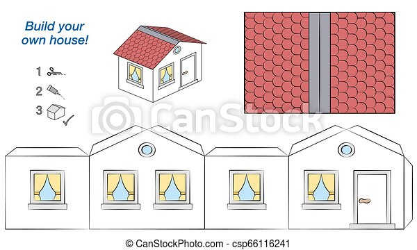 House Paper Model White Walls Red Roof Template