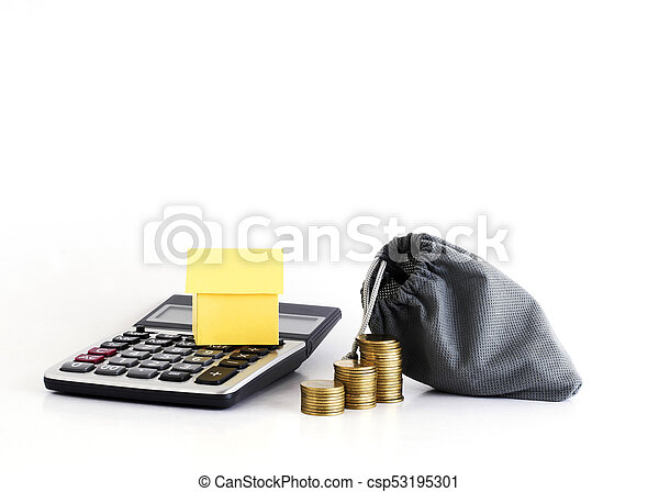 House paper on calculator and coins money bag for home loans concept - csp53195301