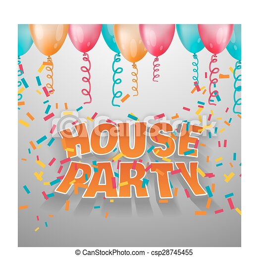 House party card invitation.   - csp28745455