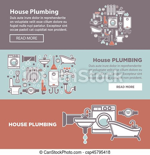House plambing internet page vector illustration of three poster - csp45795418