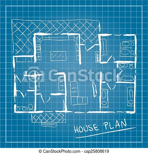 Illustration of house plan blueprint doodle style vector clip art house plan blueprint doodle csp25808619 malvernweather Image collections
