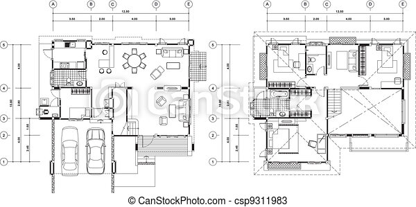 House plan House plan vectors Search Clip Art Illustration