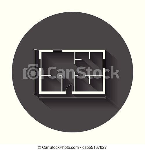House plan simple flat icon. Vector illustration with long shadow. - csp55167827