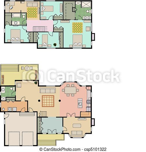 House plans vector drawing of 4 bedroom house it shows for Stock house plans