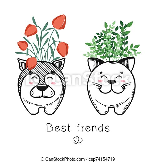House plant in a pot with a muzzle of the animal. Cute muzzle on the pot. Cat and dog are best friends - csp74154719