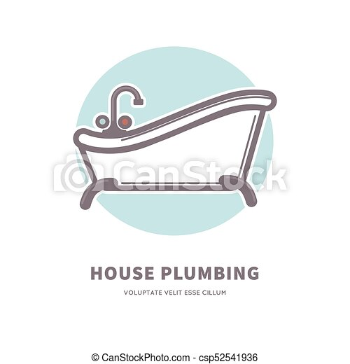 House plumbing commercial logotype with capacious ceramic bath - csp52541936