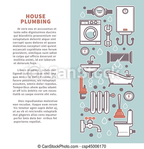 House plumbing vector poster infographics of bathroom and kitchen house plumbing vector poster infographics of bathroom and kitchen icons ccuart Image collections
