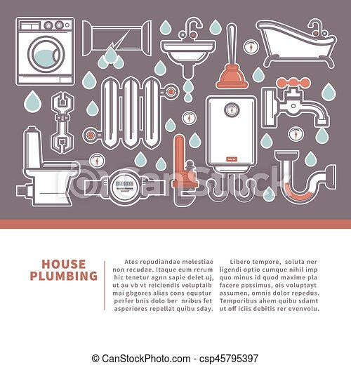 House plumbing web banner for promotion repair services. - csp45795397