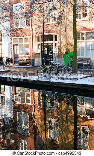 House reflection in the canal of Delft - csp4992543