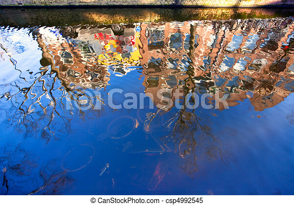 House reflection in the canal of Delft - csp4992545