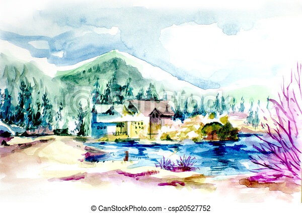 House resort by the lake in mountain illustration. Vacation house or holiday resort by the lake in the mountain water color illustration - csp20527752