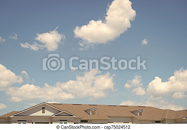House Roof On Blue Sunny Sky Background Architecture And Structure Design Concept Rent An Apartment Relocation Moving To