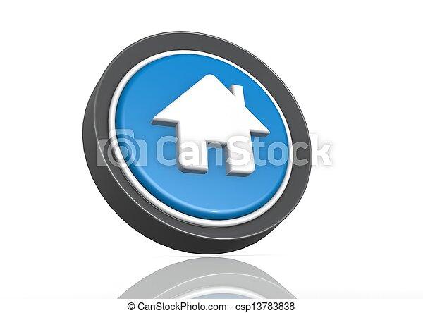 House round icon in blue - csp13783838