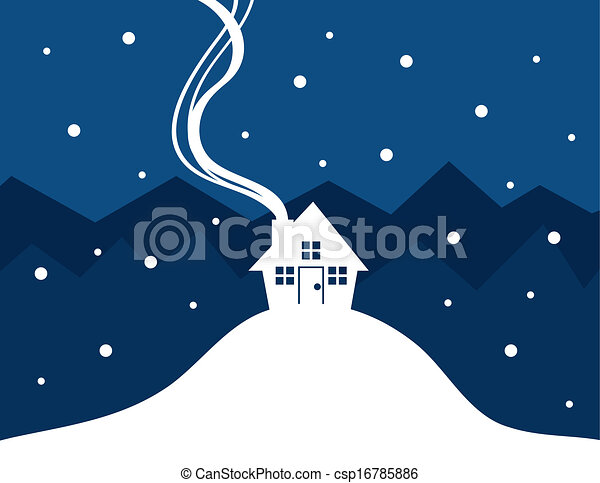 House Snow Silhouette House Silhouette With Show Falling