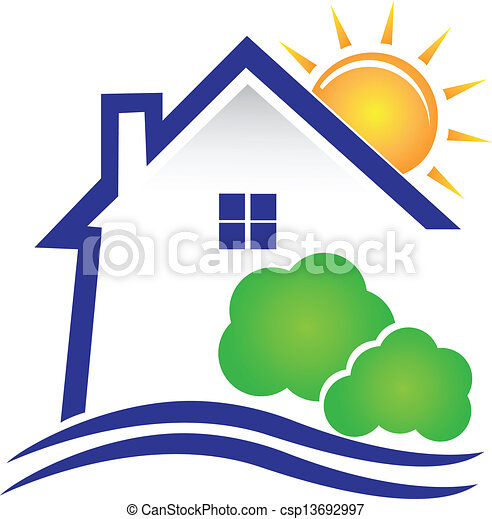 House sun and bushes logo - csp13692997