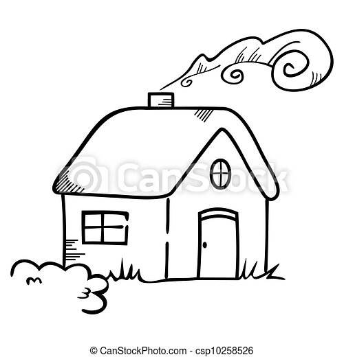House Symbol Illustration Of Cottage Drawn In Childlike Vector