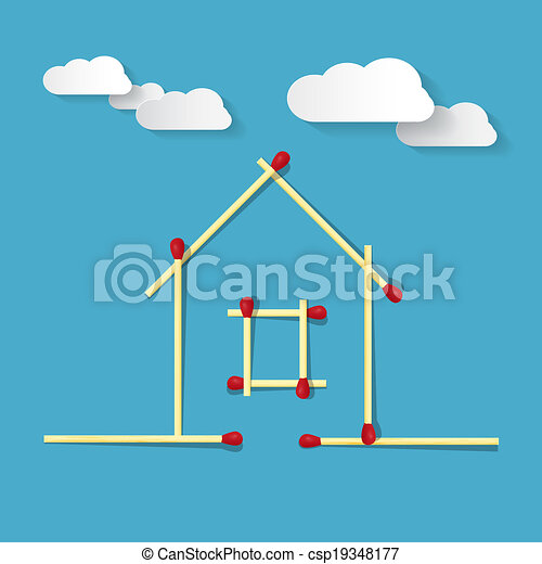 House Symbol Made from Matches on Blue Background - csp19348177