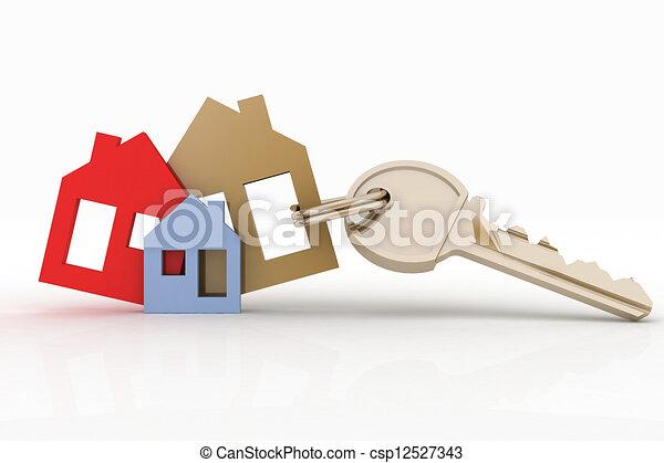 house symbol set and key - csp12527343