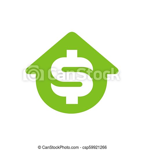 House Symbol With Dollar Money Symbol Vector Icon Or Logo Design