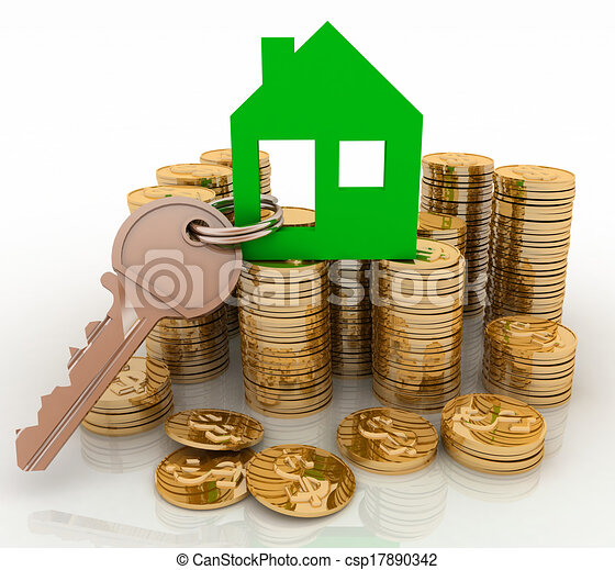house symbol with key and coins  - csp17890342