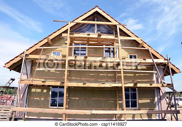 house thermal insulation with mineral rockwool - csp11416927