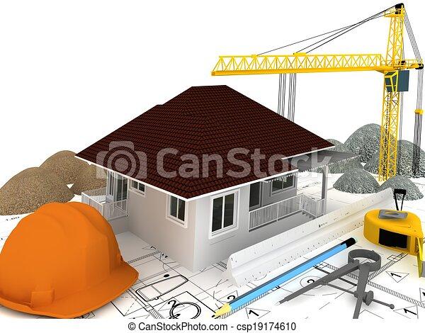 house under construction  - csp19174610