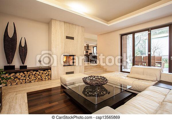 Casa Travertina: sala de estar beige - csp13565869