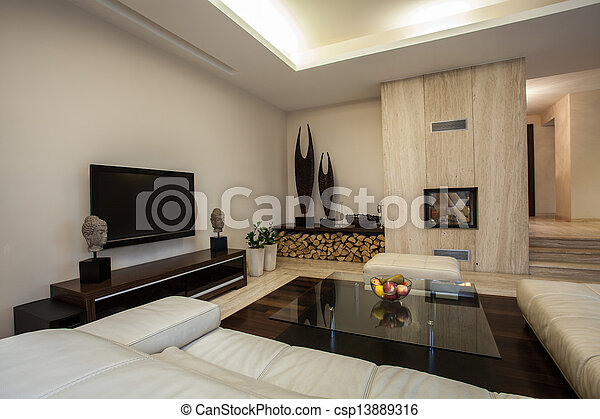 house:, vivendo, espaçoso, travertine, sala - csp13889316