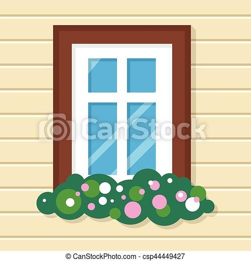 Ventana con flores en casa. Vista de la calle en la pared. - csp44449427