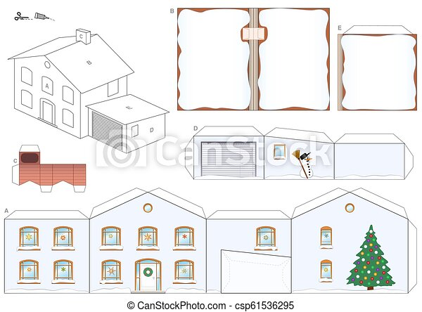 House Winter Christmas Snow Paper Model Template