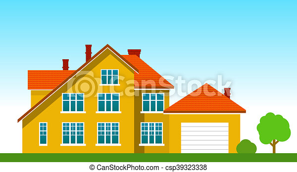 House with a garage on the grass - csp39323338
