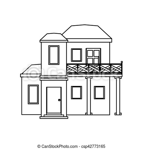 house roof outline clipart. vector house with balcony roof garden outline clipart