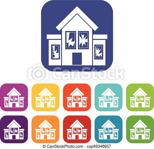 House with broken windows icons set - csp49348657