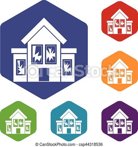 House with broken windows icons set - csp44318536
