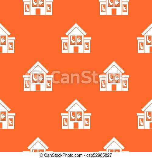 House with broken windows pattern seamless - csp52985827