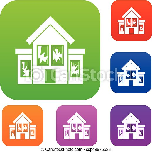 House with broken windows set collection - csp49975523