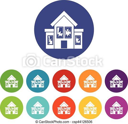 House with broken windows set icons - csp44126506