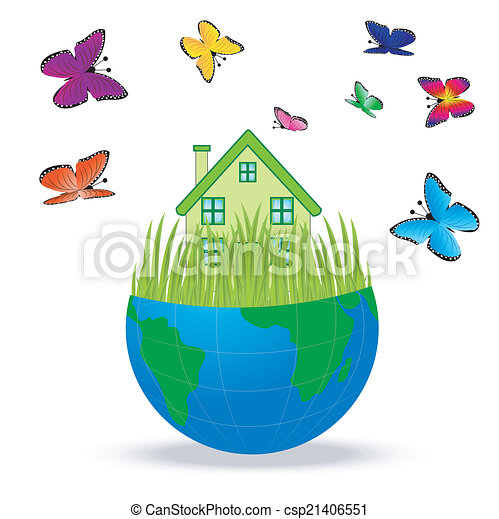 house with butterflies in a planet - csp21406551