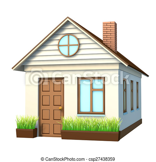House With Chimney On Isolated White Background Side View