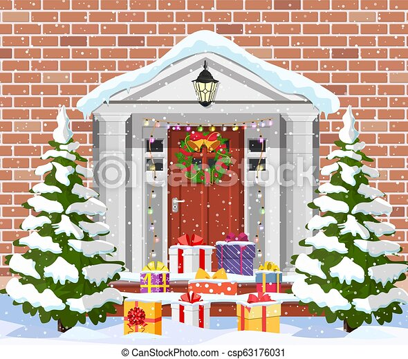 House With Christmas Lights Clipart.House With Christmas Decorations