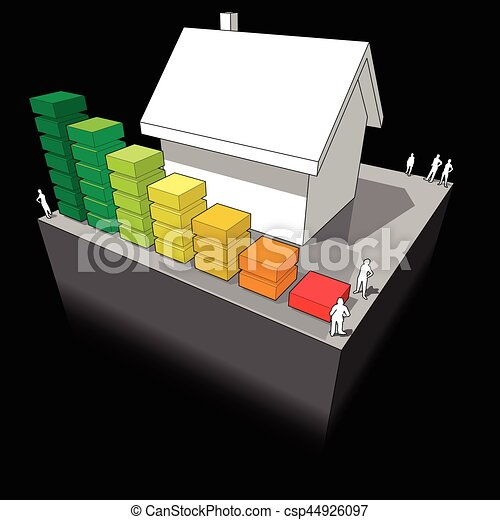 House with energy rating diagram - csp44926097